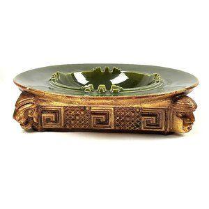 Vintage UNIQUE Green & Gold Egyptian Large Ashtray